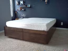 How Big Is A Full Size Bed Furniture Square Brown Wooden Bed Frame With Drawers Having White