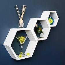 wandregal hexagon 3er set sechseck lounge regal design wabe retro 70er wandregal