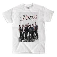 amazon com the outsiders 1983 movie cover white t shirt clothing