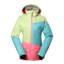 Gsou Snow Women U0027s Spell Color Warm Waterproof Windproof Ski Jacket