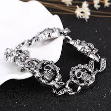 diy bracelet men images Fashion punk skull stainless steel charm bracelet for women diy jpg