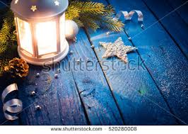 lantern decorations on blue wooden stock photo 520280008