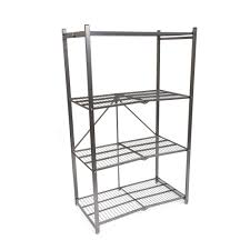pop it 4 tier foldable steel shelf in white r1407 whi the home depot