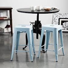 Tolix Bistro Chair Set Of 2 Light Blue Bistro Tolix Style Metal Counter Stools