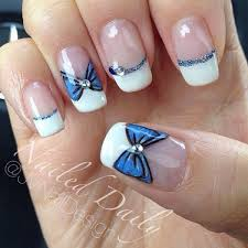 white and blue bows white tips nails with blue bows pictures photos and images for