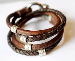 bracelet leather wrap images Mens personalised bracelet fathers day leather bracelet jpg