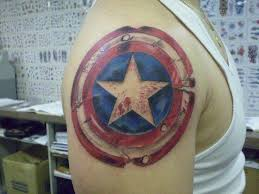 huge captain america shield tattoo collection