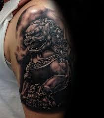 foo dog tattoo half sleeve black ink foo dog tattoo on man left