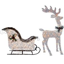 Lighted Santa And Reindeer Outdoor by Lighted Grapevine Reindeer Christmas Decoration Christmas