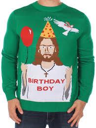men u0027s ugly christmas sweater happy birthday jesus sweater green