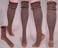 brown black knit argyle pattern thigh high
