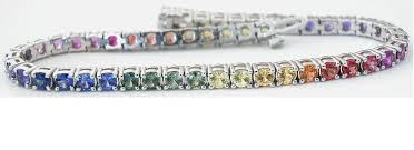 sapphire bracelet images 6 4 7 3 ctw rainbow sapphire bracelet in 14k white gold ssb 4043 jpg