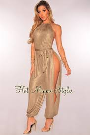 harem jumpsuit gold metallic slit leg harem jumpsuit