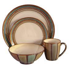 sango flair dinnerware brown set of 16 walmart com