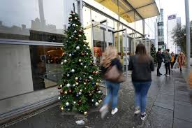 selfridges have put up their christmas trees at the city centre