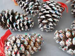 Decorating Pine Cones With Glitter Vintage Genuine Snow Flocked Glitter Pine Cones With Red Ribbons