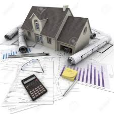 blueprints of a house a house on top of a table with mortgage application form