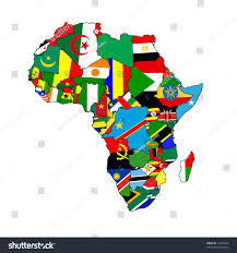 Flags Of All Nations Continent Africa Made Country Shaped Flags Stock Illustration