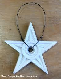 shabby chic cast iron star ornaments for a farmhouse christmas tree