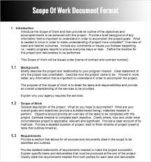 template scope of work template