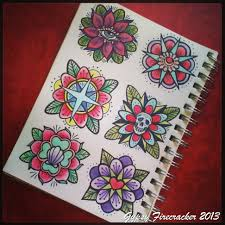 american traditional flower tattoos sheet photo 2 photo