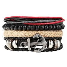 multi leather bracelet images Fashion 1 set 4pcs men 39 s anchor bracelet multi layer leather jpg