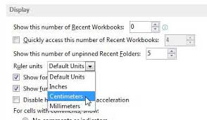 how to change the ruler from inches to centimeters in excel 2013