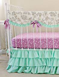 ruffle girls bedding mint green baby bedding purple and mint modern crib
