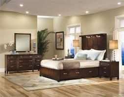 decoration inspiring gray color nuance bedroom with brown lacquer