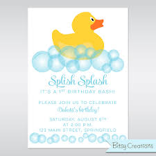 rubber duck printable birthday party invitation