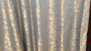Blue Silk Curtains Powder Blue Silk With Gold Climbing Leaf Ready Made Curtains Youtube