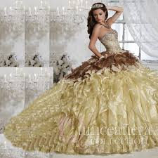 2016 gold quinceanera dresses masquerade ball gowns with