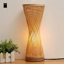 Wicker Table Lamp Bamboo Wicker Rattan Spire Vase Table Lamp Fixture Creative Rustic