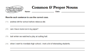 common and proper nouns worksheets middle