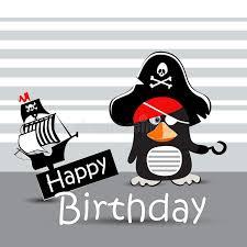 happy birthday card pirate penguin funny stock illustration