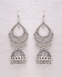 jhumka earrings online shopping buy ethnic silver oxidized jhumka earrings online india voylla