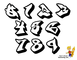 graffiti numbers 1 10 sketch coloring page