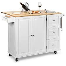 kitchen storage cabinet cart gymax drop leaf kitchen island trolley cart wood storage cabinet w spice rack white