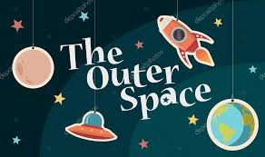Outer Space Decorations The Outer Space Title Funny Decorations On Background U2014 Stock