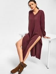 maroon sweater dress side slit v neck sweater dress midi dresses one size zaful