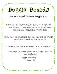 r controlled vowels boggle activity pages by sarah dellasega tpt