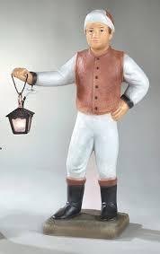 lawn jockey with lantern concrete garden statue
