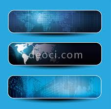 free 3 technology world map banner background design template