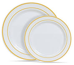Decorative Plastic Plates Amazon Com 60 Heavyweight White With Gold Rim Plastic Plates 30