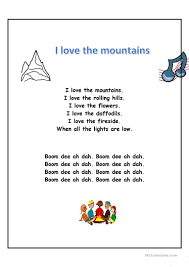 Wavin Flag Lyrics I Love The Mountains Worksheet Free Esl Printable Worksheets