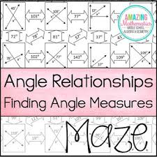 angle relationships maze finding angle measures different