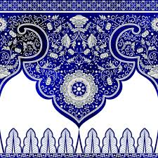 blue decorative ornaments russian style vector 04 vector