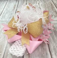 boutique hair bows buy big white pink gold boutique hair bow headband for babies