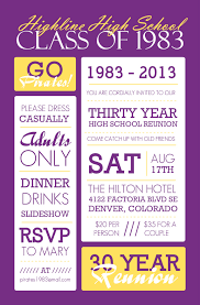 high school reunion invitations poster style purple and yellow class reunion invitation class