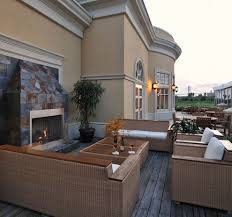 gloster furniture patio traditional with curved seating fireplace